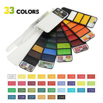 33 Colors Portable Whirl Solid Watercolor Pigment Paint Set with Water Brush