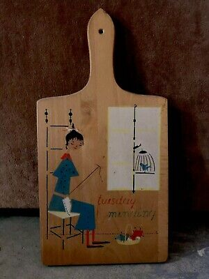 """Mid Century Nevco Wooden Cutting Board w/ Key Hanger """"tuesday mending"""" 60s Retro"""