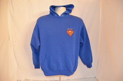 VTG Six Flags Superman Hoodie Sweatshirt Embroidered Youth L 90s