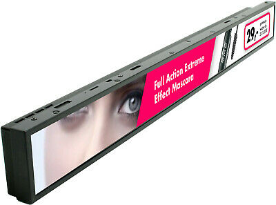 Advertising screen LCD bar - multimedia shelf edge rail display stretched