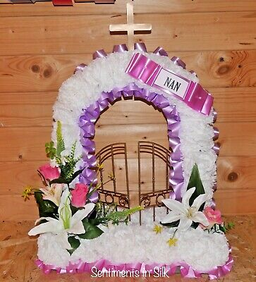 "Artificial silk funeral flower ""Gates of Heaven"" tribute grave marker - Large"