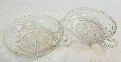 Pair 2 Vintage Nappy Bowl With Finger Handle Heavy Crystal Glass Candy Dish GL2