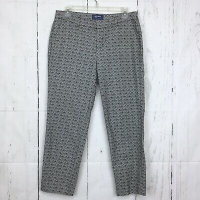 Old Navy Size 6 Harper Pants Cropped Black White Mid Rise Tapered Stretch 25""
