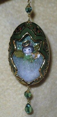 Bradford Editions Purrfect Harmony Kitten in green Egg Ornament