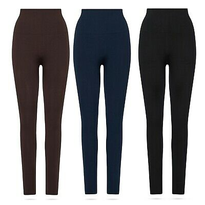 2x Fleece Winter Thermo-Leggings warm gefüttert Taille Hoch-Bund 36 38 40 42 44