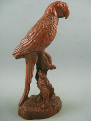 """7"""" Antique Chinese Old Boxwood Hand Carved Big Parrot Statue"""