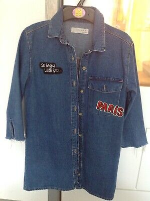 girls zara age 8 denim patched shirt dress in great condition