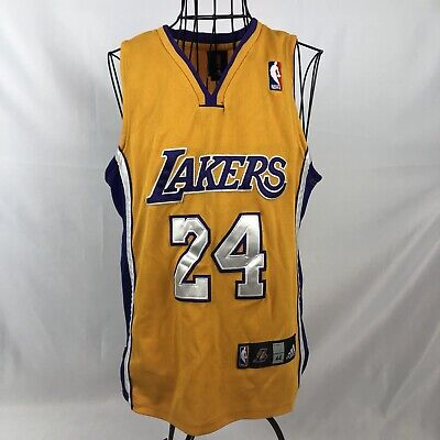 Adidas Kobe Bryant #24 Los Angeles Lakers Basketball NBA Yellow Jersey Mens 44
