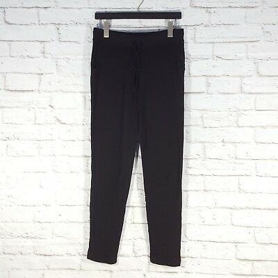 Lou & Grey Textured Knit Pants Pull On Black Back Pockets Front Tie Small