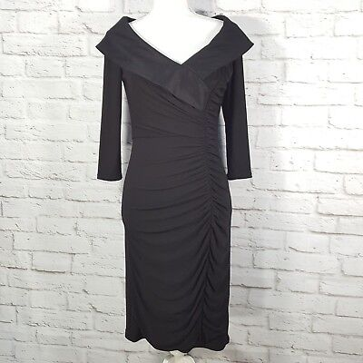 Adrianna Papell Womens 8 Dress Formal Evening Wedding Gown Party Solid Black