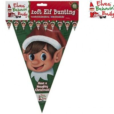 Christmas Naughty Elf Prop 20Ft Bunting 10 Flags Decoration Elves Behavin Badly