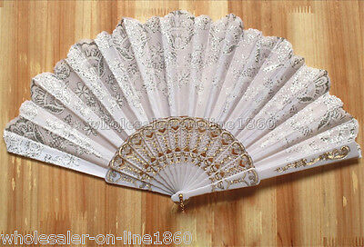 Spanish Style White Wedding Party Lace Brocade Folding Hand Held Fan Flower