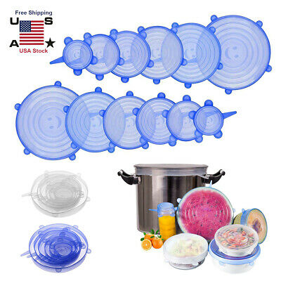 12pcs Silicone Stretch Bowl Wraps Food Saver Covers Seal Insta Lids Reusable n4m