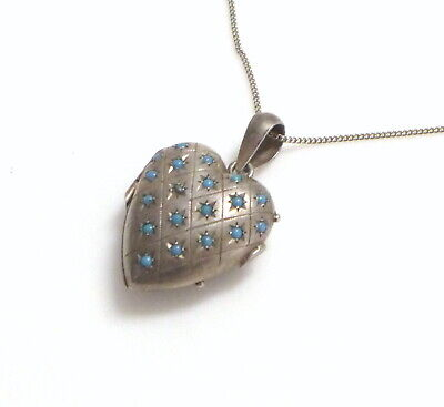 Antique Victorian Sterling Silver Puffy Heart Locket Persian Turquoise Pendant