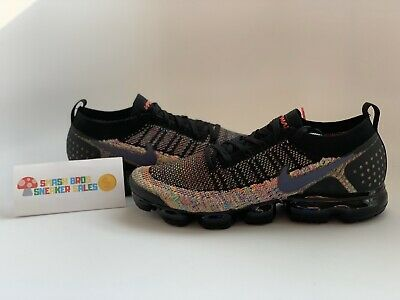 USED Nike Air Vapormax Flyknit 2 Racer Black Multi-Color Size 12.5 942842-017