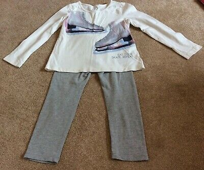 Girls Gap Outfit Ice Skating Top L/S Tshirt And Leggings Set Age 4-5 Years