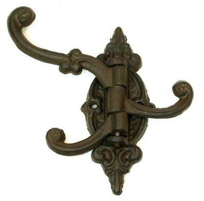 Cast Iron Vintage Antique Victorian Swing Arm Swivel Wall Hook Hall Tree 3 Hooks