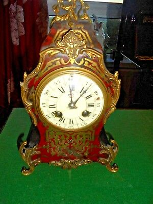 victorian brass inlaid boulle ormulo mantle clock
