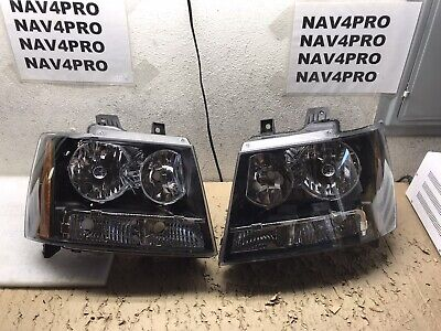 2007-2014 Chevrolet Avalanche Suburban Tahoe Black Halogen Headlight Pair #H132