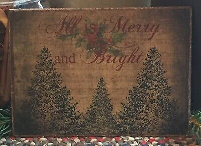 """Primitive Vintage Christmas Trees All is Merry & Bright Print on Canvas 8x10"""""""