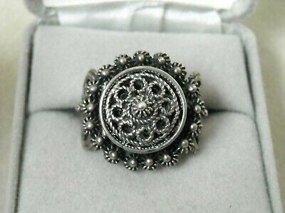 Antique Egyptian Hallmarked .700-.900?? Silver Filigree Hinged Poision Pill Ring