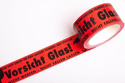 12 Rolls Tape Attention Glass Printed Package Packaging Warning Red