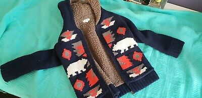 Seed hoodie Jacket GUC size 4-5 boys or girls blue aztec warm