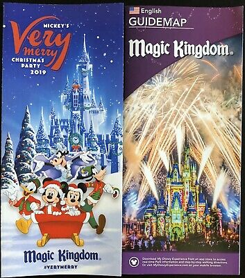 NEW Mickey's Very Merry Christmas Party MVMCP 2019 Park Map + Bonus Map!! WDW