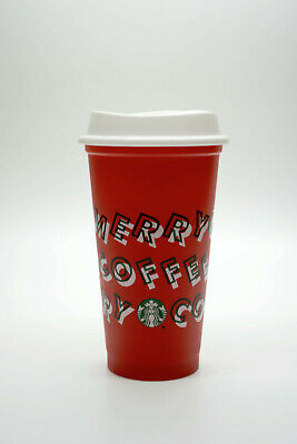 Starbucks 2019 Holiday Reusable Red Hot Cup Grande 16oz Plastic Merry Coffee