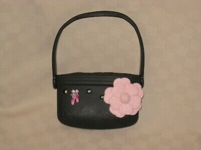 Jibbitz Crocs Girls Black Pink Flower & Ballarina Slippers Jibbitz Purse Euc