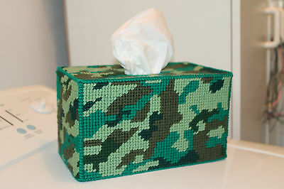 Tapestry Tissue Box Cover - Camouflage design-OOAK Unique - Handmade - Full Size