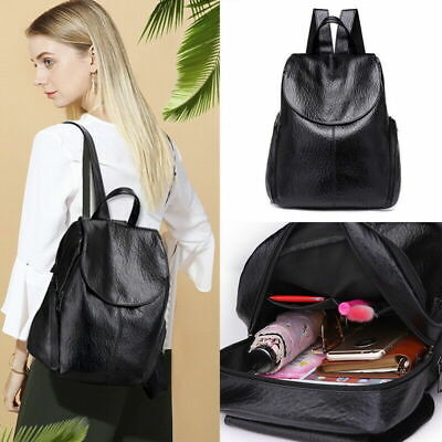 Womens Ladies PU Leather Backpack Travel School Rucksack Handbags Bag AU E9V2F