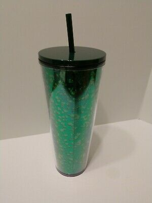RARE! STARBUCKS 2019 Holiday Limited Edition Green Speckled Glitter Tumbler 24oz
