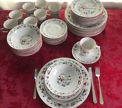 Set a Holiday Table with Vintage White Christmas China 40 Pieces, Service for 8