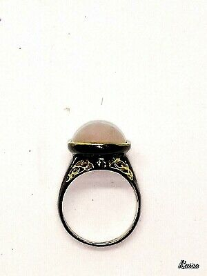 Handmade Rose Quartz Ring, Sterling Silver With Gold Trim, Size 8.5