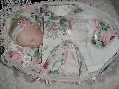 "Craftymals  "" 7 Piece Basket And Nightie Set "" To Fit 17 - 22 Inch Reborn Dolls"
