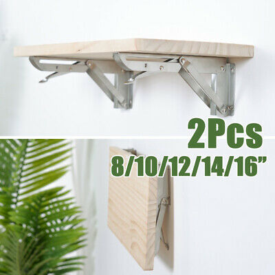 2 * Stainless Folding Collapsible Shelf Heavy-Duty Bracket 8/10/12/14/16 Inch