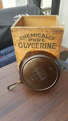 """Griswold """"ERIE"""" #8 Cast Iron Skillet With Large Slant Logo And Heat Ring Restore"""