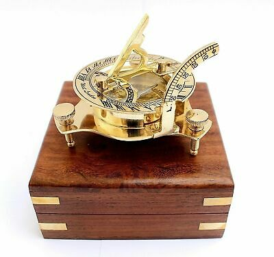 Nautical Brass Sundial Compass West London - Marine Working Compass With Box