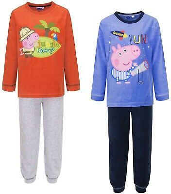 Boys Girls George Pig Long Sleeve Pyjamas Purple Red Velvet Jungle Space Cosy PJ