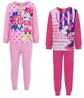 Girls Fleece Minnie Mouse Long Sleep Pink Pyjama Set Super Hero Love Cosy PJs