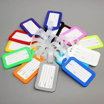10PC Travel Luggage Bag Tag Name Address ID Label Plastic Suitcase Baggage Tags-