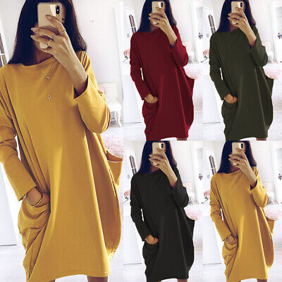 PLUS SIZE Women Long Sleeve Pockets Tunic Top Ladies Loose Pullover Jumper Dress