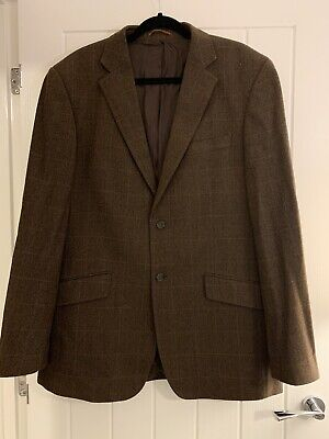 John Lewis Mens Wool With Cashmere Brown Check Jacket Size 44L Used But Good Con