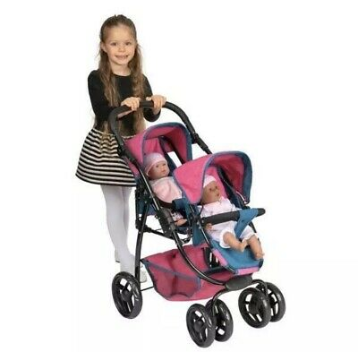 Ella Twin Doll Stroller Denim Blue & Pink Dolls Pram Kids Girls Play Pushchair