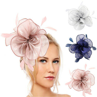 Feather Flower Headband Alice Band Fascinator Ladies Wedding Race Royal Ascot