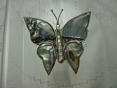 Vintage Alpaca Silver Mexico Abalone Butterfly Pin Brooch (C-23)
