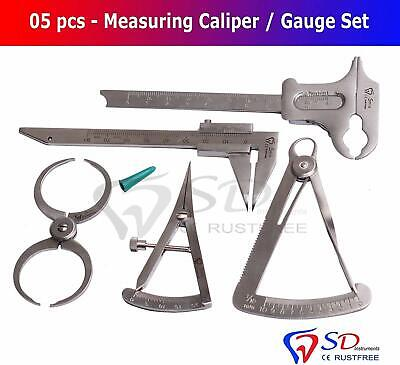 Dental Gauges Set of 5 Gauges Bolay Barrenduck Iwanson Castroviejo Calippers New