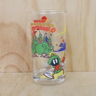 Vintage IXL Collectables Looney Tunes Year 2000 Marvin The Martian Glass Cup