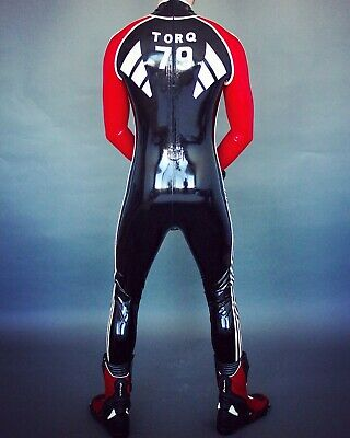 Latex Rubber Racing Suits Cool Anzug Catsuit 100% Gummi Set Schwarz&Rot Catsuit